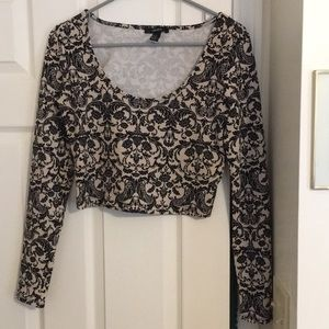 Black and cream baroque patterned crop top